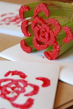 Celery stamp, I've also done this with apples they make a heart shape. Children Love it! They are amazed that a vegetable or fruit can make a flower. Also can work with making hand carved potato prints