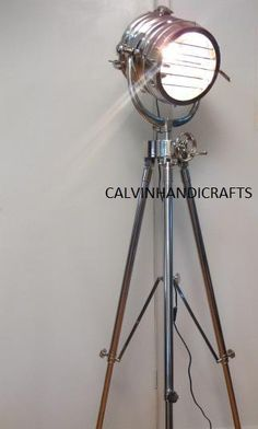 Big Designer Chorme Nautical  Tripod Lamp Search by ANTIQUEDECORS on etsy