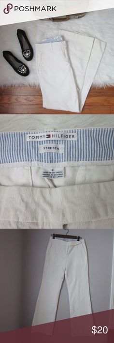 """CLEAR OUT SALE T. Hilfiger White Cords 6 CLEAR OUT SALE TODAY!!! READ NOTICE AT TOP OF CLOSET! Corduroy is IN! And these are amazing. White cords in excellent gently worn condition. Tiniest bit of dirtiness to the very bottom but as you can tell from photos you can't even see it except under inspection. Search Pinterest for super cute corduroy pant inspo! 98% cotton 2% spandex. Waist 15.75"""". Rise 10"""". Inseam 31.5"""".  Bundle for best deals! Hundreds of items available for discounted bundles…"""
