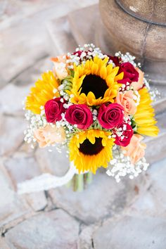 Bouquet of Sunflower's and Pink Roses|  {Coral & Yellow} Rustic Fall Wedding|Photographer:  Chelsea Anderson Photography