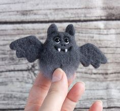 Bat Brooch - Halloween jewelry - needle felted brooch - Hand Felted Brooch - animal brooch - Grey pin - Unique gift - Autumn gift