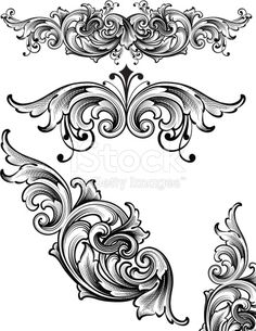 Designed by a hand engraver. Ornate and highly detailed arabesque scroll engraving set. Change color and scale easily with the enclosed EPS and AI files. No transparencies or special effects. Baroque Frame, Motif Arabesque, Filigree Tattoo, Muster Tattoos, Engraving Art, Leather Carving, Carving Designs, Leather Pattern, Calligraphy Art