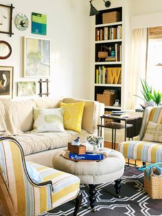 Playful patterns make this small living room an inviting space. More smart ideas for small spaces: http://www.bhg.com/decorating/small-spaces/strategies/smart-decorating-ideas-for-small-spaces/#page=14