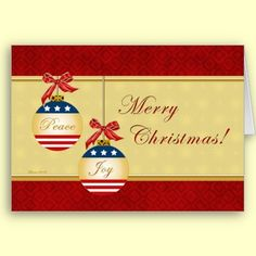 Patriotic Ornaments Merry Christmas Greeting Card by XG Designs NYC. $3.80 #Christmas #Patriotic #Greetingcard