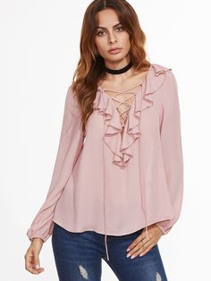 Shop Pink Ruffle Trim Lace Up V Neck Blouse online. SheIn offers Pink Ruffle Trim Lace Up V Neck Blouse & more to fit your fashionable needs. Blouse Col V, V Neck Blouse, Sexy Blouse, Casual Tops For Women, Blouses For Women, Style Pastel, Laced Up Shirt, Pastel Fashion, Beautiful Blouses