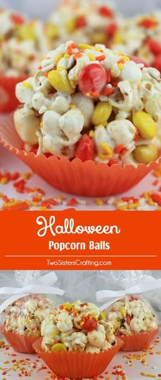 Halloween Popcorn Balls - sweet and salty popcorn, covered with marshmallows and mixed with chocolate candy just for fun! A great Halloween Treat that is so easy to make! A delicious Halloween snack and so very pretty with the sprinkles and the orange and yellow M&M's. Pin this easy Halloween Dessert for later and follow us for more great Halloween Food Ideas.