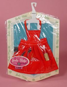 Vintage Barbie Apron & Utensils Pack 1962-1963...nothing much could equal the excitement of getting a new package of Barbie clothes and tiny accessories.