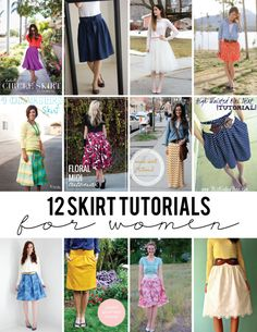 12 FREE Skirt Tutorials for Women - most are easy to sew and will make a gorgeous addition to your wardrobe!