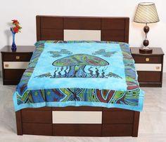 Cotton Single Sky Blue Color Bedsheet Tie-Dye Mashroom Print Bedcover Bedding #Uttam #Transitional