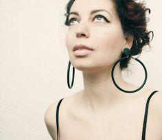 Vintage Clip On Earrings Hoop Earrings Dark Green by SoulSisters16
