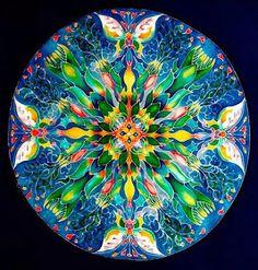 """Vernal Equinox"" painting by Margriet Seinen Mandala Design, Mandala Art, Fractal Art, Fractals, Southwestern Blankets, Astrology Forecast, Purple Cross, Vernal Equinox, Wool Poncho"