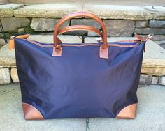 Navy Blue Personalized Nylon Weekender, Carry-On, Gym Bag, Tote by GebbiesEmbroidery on Etsy