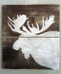 MOOSE WOOD SIGN Reclaimed Wood Moose Rustic Cabin by KellyAvenue