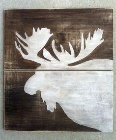 MOOSE WOOD SIGN Reclaimed Wood Moose Rustic Cabin by KellyAvenue