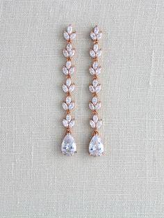 Rose Gold earrings Bridal earrings Wedding jewelry by Gold Bridal Earrings, Gold Earrings Designs, Bridal Bracelet, Rose Gold Earrings, Wedding Earrings, Crystal Earrings, Wedding Jewelry, Gold Necklace, Ear Jewelry