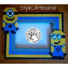 Minion frame hama beads by style_artesanal Fuse Bead Patterns, Perler Patterns, Beading Patterns, Christmas Perler Beads, Diy Perler Beads, Minions, Craft Sites, Peler Beads, Beads Pictures