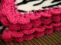 Zebra Striped Fleece Throw Blanket with Pink Crochet Edge