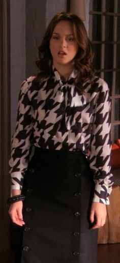Blair's lovely pencil skirt and houndstooth shirt....