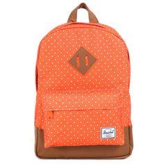 Herschel Heritage Kids Backpack, Orange Polka Dot