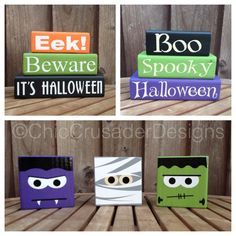 Halloween wood blocks chiccrusaderdesigns.com