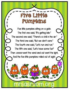 Three Pumpkins Poems for Preschool Poems are so much fun to use in preschool and kindergarten! And, these three poems are perfect for your pumpkins theme! Plus, the different formats will give you lots of ideas and activities to use them for! Preschool Songs, Preschool Lessons, Preschool Kindergarten, Kids Songs, Rhymes Songs, Preschool Curriculum, Halloween Songs Preschool, Pumpkin Preschool Crafts, Circle Time Ideas For Preschool