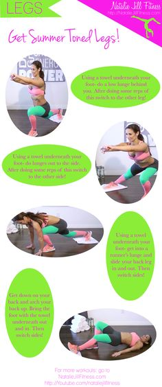 Leg workout you can do anywhere with a TOWEL! Click the image to watch the full video :)