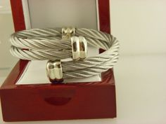 PHILIPPE CHARRIOL Celtic Double Cable Bangle Cuff Bracelet Twisted Stainless. #PHILIPPECHARRIOL #Bangle