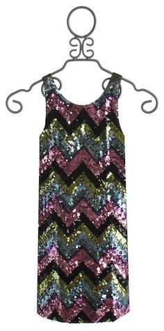 904aff2941f Flowers By Zoe Girls Tank Dress with Sequin Chevron Front Tank Kleid