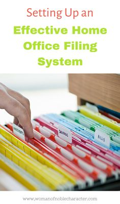 How to organize your home office including setting up file systems that work for you and your family plus tips on mail and printing stations. Organizing Paperwork, Organizing Your Home, Organizing Tips, Cleaning Tips, Organising, Office Organization At Work, Paper Organization, Organized Office, Office Filing System