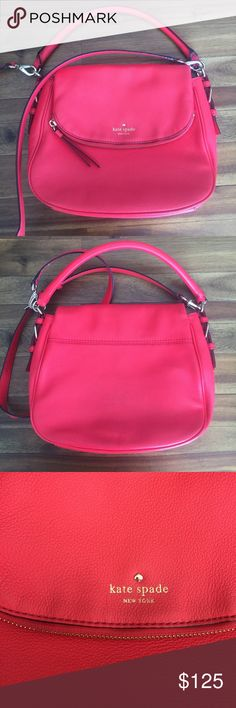 kate spade ♠️ purse Beautifully bright leather kate spade purse. In excellent condition. I would say a bright pinkish-red color with muted gold hardware. Inside had the traditional black and white stripe. Use as a shoulder, arm or crossbody bag. kate spade Bags