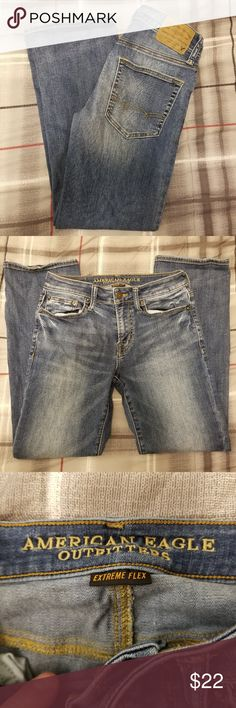 """American Eagle Outfitters jeans Original Boot cut Item Description from Jeans Brand: American Eagle Outfitters Size:  28 x 30 (On tag)    Style: Original Boot Extreme Stretch Wash: medium Materials: Cotton blends  Actual Measurements (approximate) Waist (laying flat): 15"""" Inseam: 28"""" Rise: 9.0 Leg Opening (laying flat): 8.0"""" American Eagle Outfitters Jeans Boot Cut"""