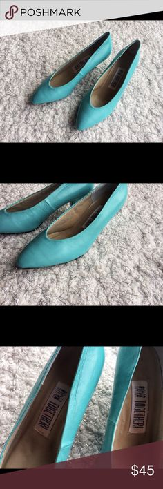 Vintage Light Blue Leather Kitten Heels Vintage - Size 7 - Kitten heels - Together Brand - Together Shoes Heels
