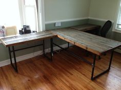 Reclaimed White Cedar Desks with Industrial Pipe Fitting Frame on Etsy, $525.00