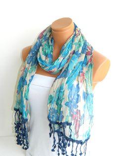 $19.90Multicolor Scarf. Turkish Fabric Fringed Guipure Scarf ..bandana,headband,wedding,bridal,authentic, romantic, elegant,
