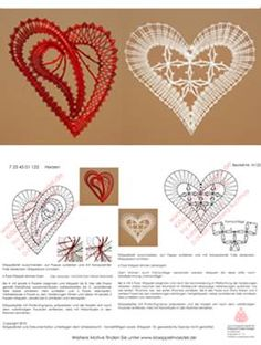 Klöppeln, Klöppelbrief, Erzgebirge, Annaberg-Buchholz, Volkskunst, Klöppelmädel Design Crochet Motif Patterns, Bobbin Lace Patterns, Heart Patterns, Filet Crochet, Irish Crochet, Diy Crochet, Bobbin Lacemaking, Lace Heart, Heart Diy