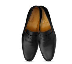 Tokyo Hermes men's moccasin in black calfskin, mini H rubber sole