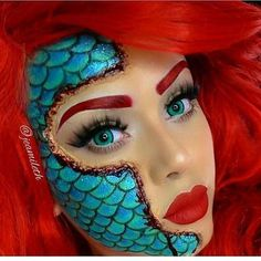 Looking for for inspiration for your Halloween make-up? Browse around this website for scary Halloween makeup looks. Disney Makeup, Disney Character Makeup, Ariel Makeup, Fish Makeup, Make Up Inspiration, Theatrical Makeup, Halloween Makeup Looks, Disney Halloween Makeup, Beautiful Halloween Makeup