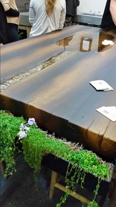 Cement wood finished table with water feature