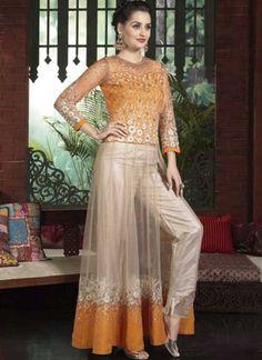 9dffdd389e Orange Beige Embroidery Work Net Silk Party Wear Pakistani Anarkali Palazzo  Suit http://