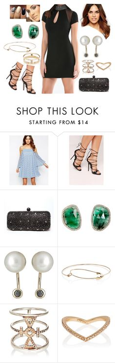 """Bez tytułu #17284"" by sophies18 ❤ liked on Polyvore featuring Bebe, ASOS, Missguided, Lady Couture, Monique Péan, Hirotaka, Loren Stewart, Wendy Nichol and Eva Fehren"