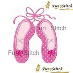 Ballet slippers shoes applique machine embroidery design ballerina