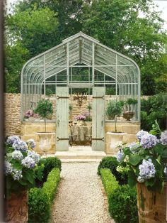 A little French garden inspiration: Provencal-style solarium with antique French limestone. Greenhouse Shed, Greenhouse Gardening, Greenhouse Heaters, Small Greenhouse, Greenhouse Wedding, Outdoor Greenhouse, Fairy Gardening, Gardening Quotes, Outdoor Rooms