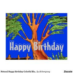 Natural Happy Birthday Colourful Blue sky #Acacia Hakuna Matata Birthday Cards & Invitations e #Amazing #beautiful #stuff and #gift #products #sold on #Zazzle #Achempong #online #store #for #the #ultimate #shopping #experience
