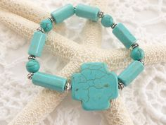 Turquoise Beads and Cross Bracelet by CaseyRoseCollection on Etsy, $16.00