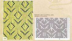 Ажурные узоры с ромбами для вязания спицами