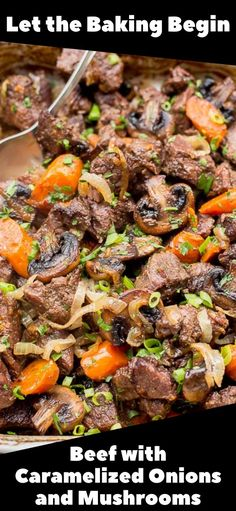 Roast Beef with Caramelized Onions and Mushrooms is a simple recipe yet full of flavor. Cubed Beef Chuck Roast with Sauteed Mushrooms, onions and a hint of wine. This Beef Recipe will become a favorite meal to prepare and enjoy!