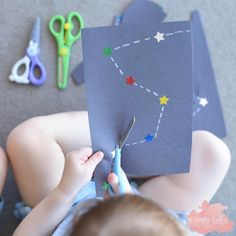 """1,125 Likes, 12 Comments - A Crafty LIVing • Olivia (@acraftyliving) on Instagram: """"Scissor Practice Constellations 🌟 combining Mr4's love of Space with Miss2's love of cutting! ✂️…"""""""
