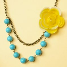 too funny - this is exactly what i'm making right now!  Yellow Rose and Turquoise Necklace