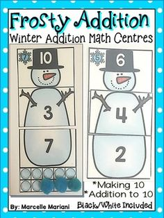 This package provides a WINTER MATH ADDITION CENTER ACTIVITY SUITABLE FOR  kindergarten  to grade 1 students.  This package offers AN ADDITION, BUILD A SNOWMAN MATH center activity.   Key words:  Winter math center activity,addition worksheets for kindergarten, winter addition worksheets, adding to 10, winter math activities,THERE ARE TWO SEPARATE TOOLS IN THIS PACKAGE:1.