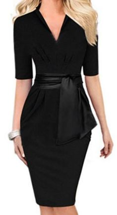 Love Love LOVE this Dress! Clean and Simple Lines! Sexy Black V-Neck Self-Tie Bodycon Midi Dress